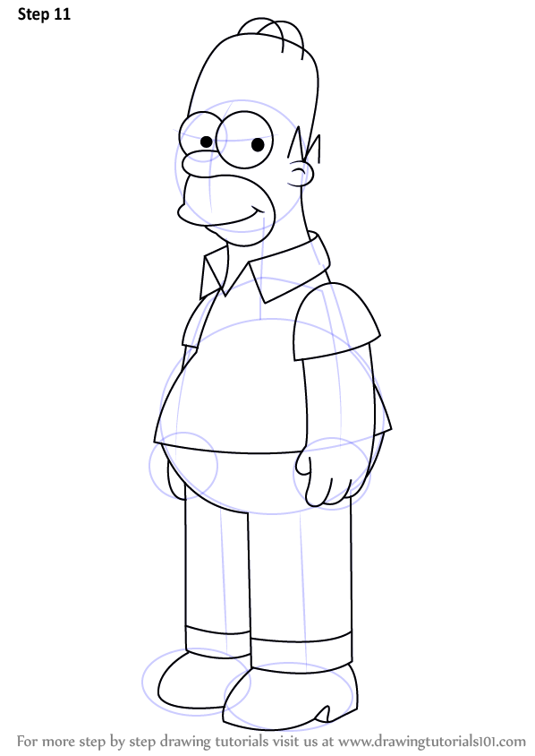 Step By Step How To Draw Homer Simpson From The Simpsons