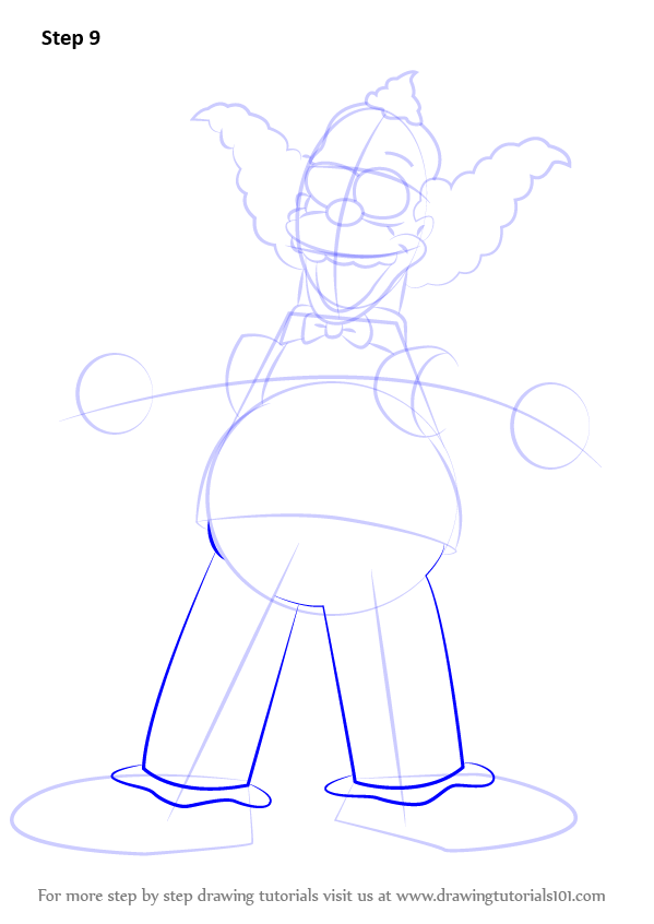 Step By Step How To Draw Krusty The Clown From The