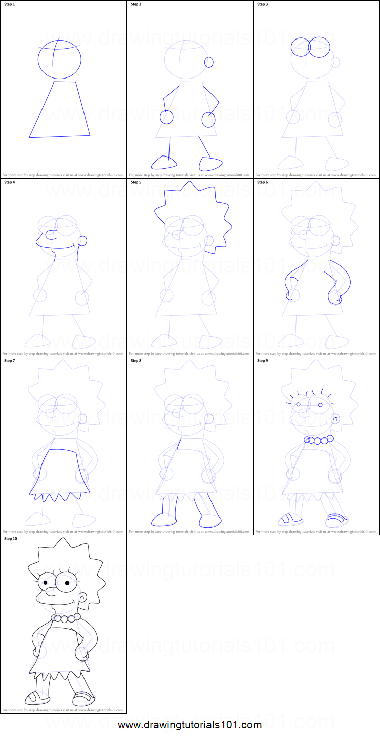 How to Draw Lisa Simpson from The Simpsons printable step