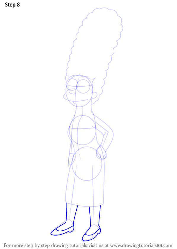 Step By Step How To Draw Marge Simpson From The Simpsons