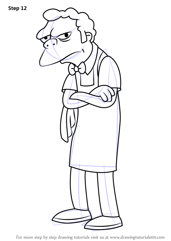 Step By Step How To Draw Moe Szyslak From The Simpsons