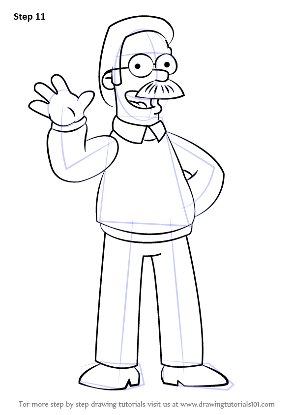 Step By Step How To Draw Ned Flanders From The Simpsons