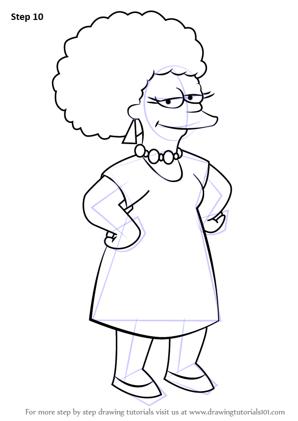 Step By Step How To Draw Patty Bouvier From The Simpsons