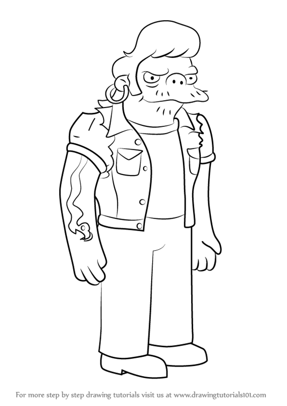 Learn How To Draw Snake Jailbird From The Simpsons The