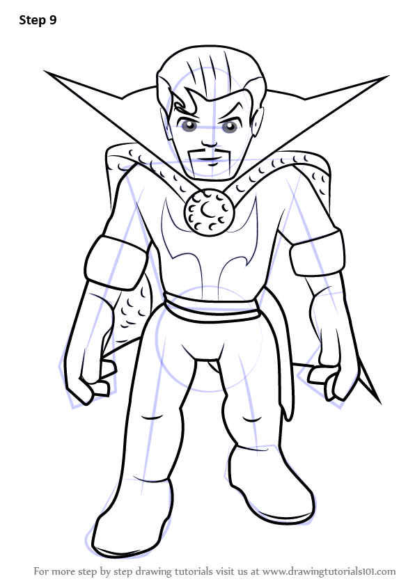 Step By Step How To Draw Dr Strange From The Super Hero