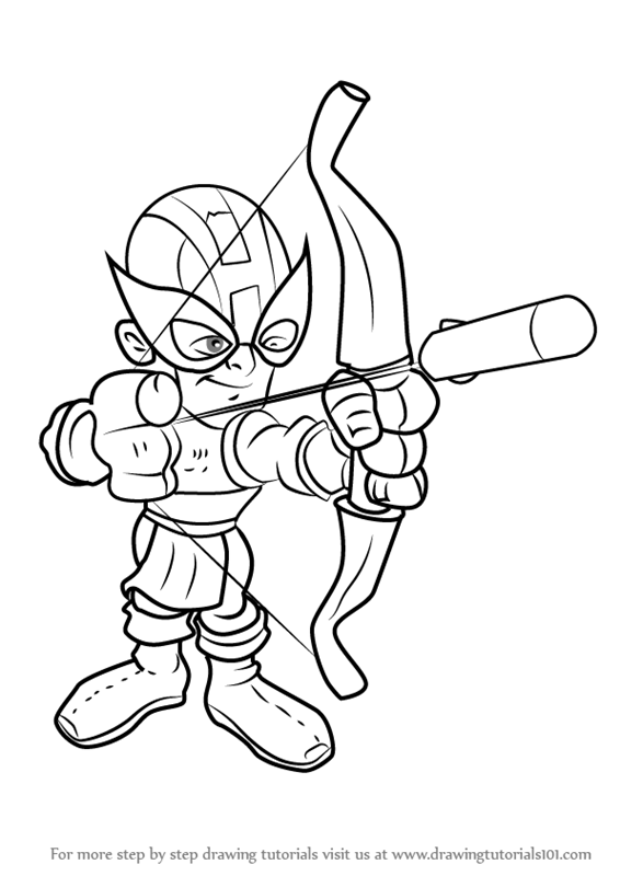 Learn How to Draw Hawkeye from The Super Hero Squad Show ...