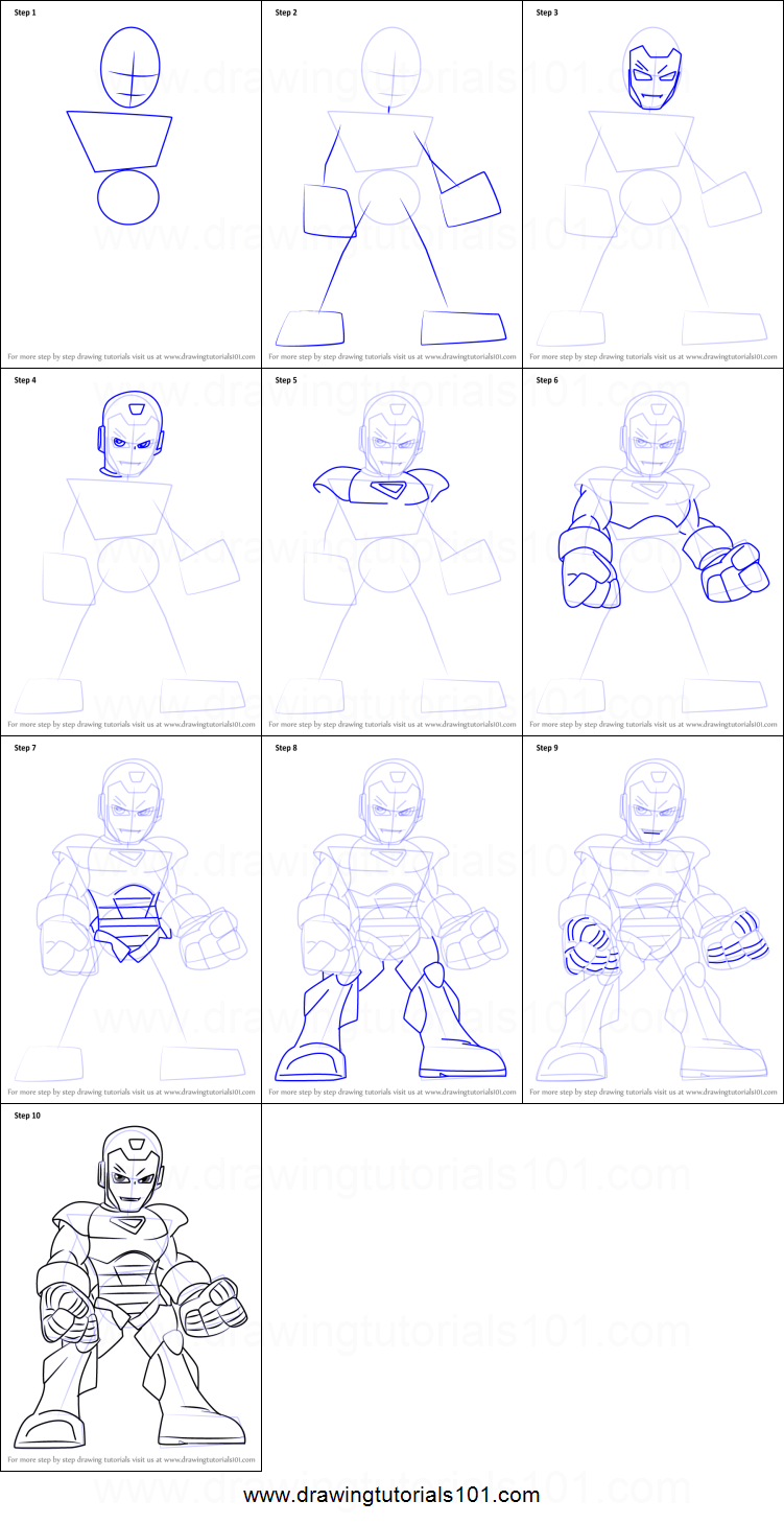 How to draw super hero squad iron man