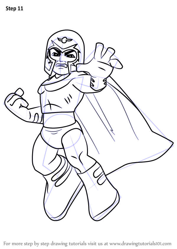 Step by step how to draw magneto from the super hero squad for Magneto coloring pages