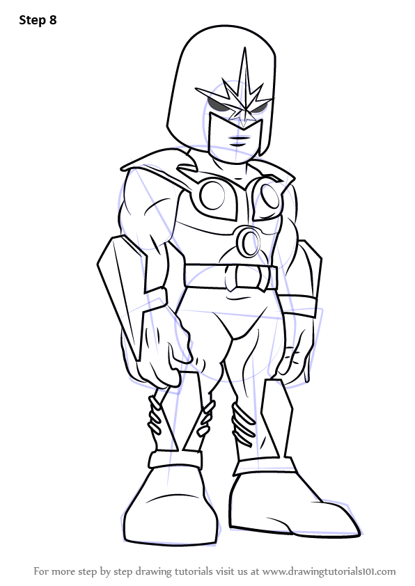 Learn How To Draw Nova From The Super Hero Squad Show The