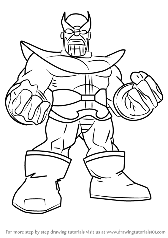 Superhero Thanos Coloring Pages: Learn How To Draw Thanos From The Super Hero Squad Show