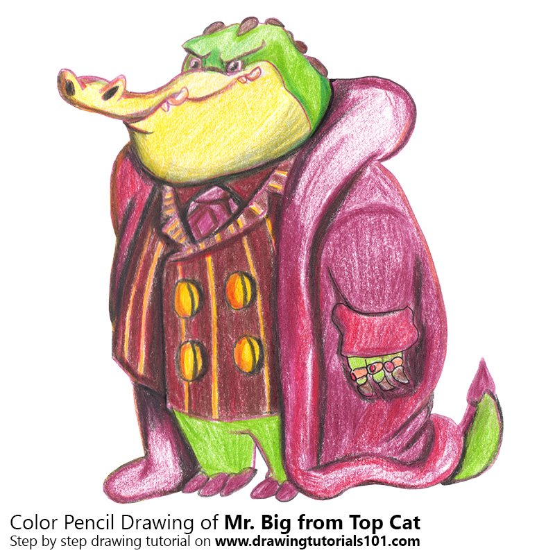 Mr. Big from Top Cat Color Pencil Drawing