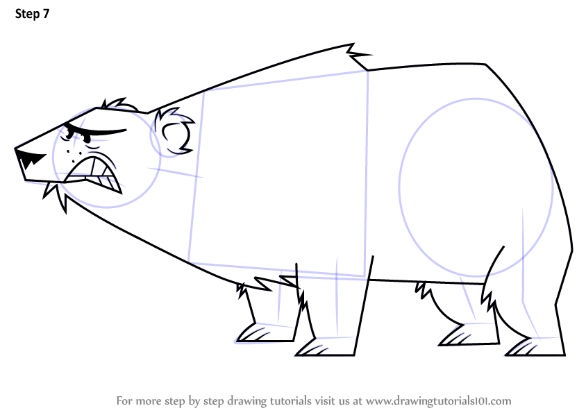 Step By Step How To Draw Polar Bear From Total Drama