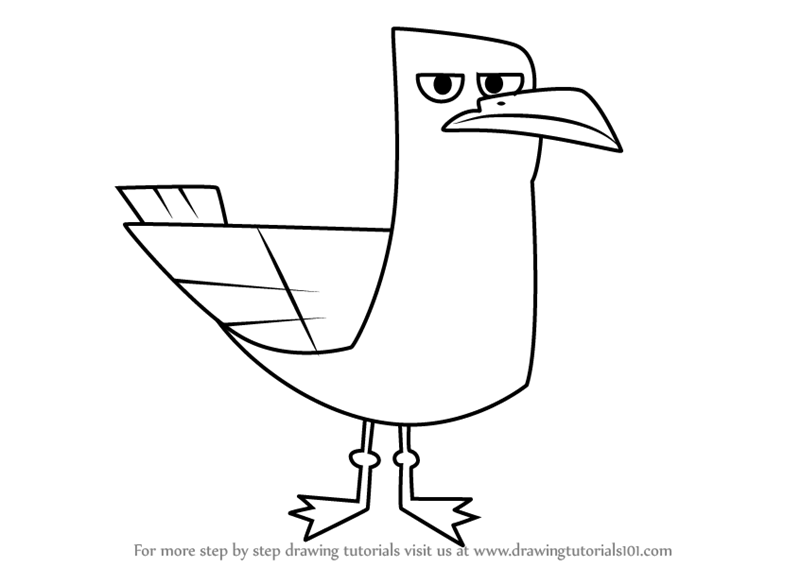 how to draw seagull from total drama