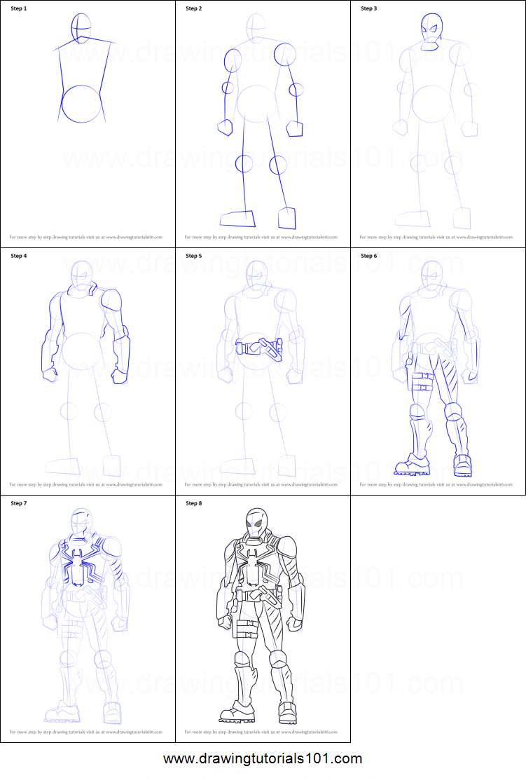 How To Draw Agent Venom From Ultimate Spider Man Printable Step By