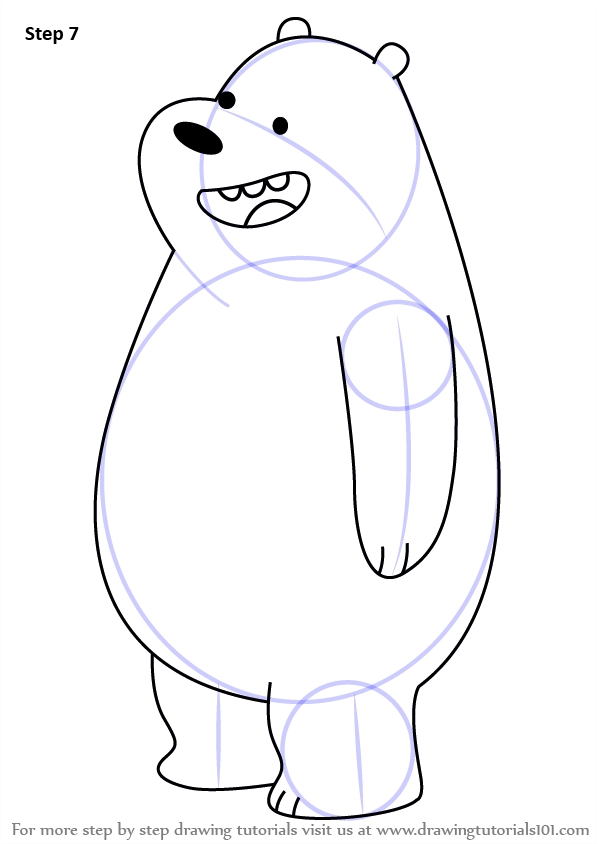 By Step Drawing Tutorial On How To Draw Gizzly Bear From We Bare Bears