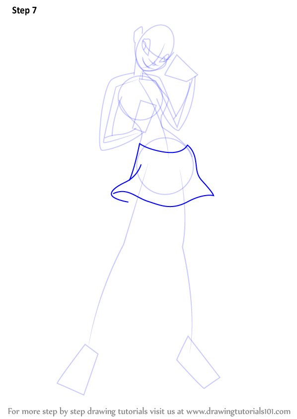 Step by step how to draw stella from winx club for Stalla ovini dwg