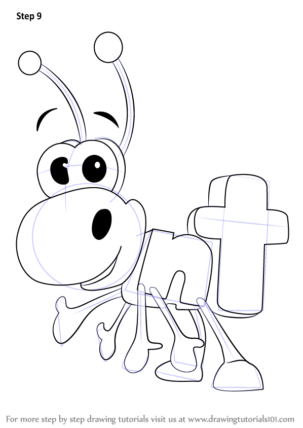 Step by step how to draw ant from wordworld for Word world coloring page