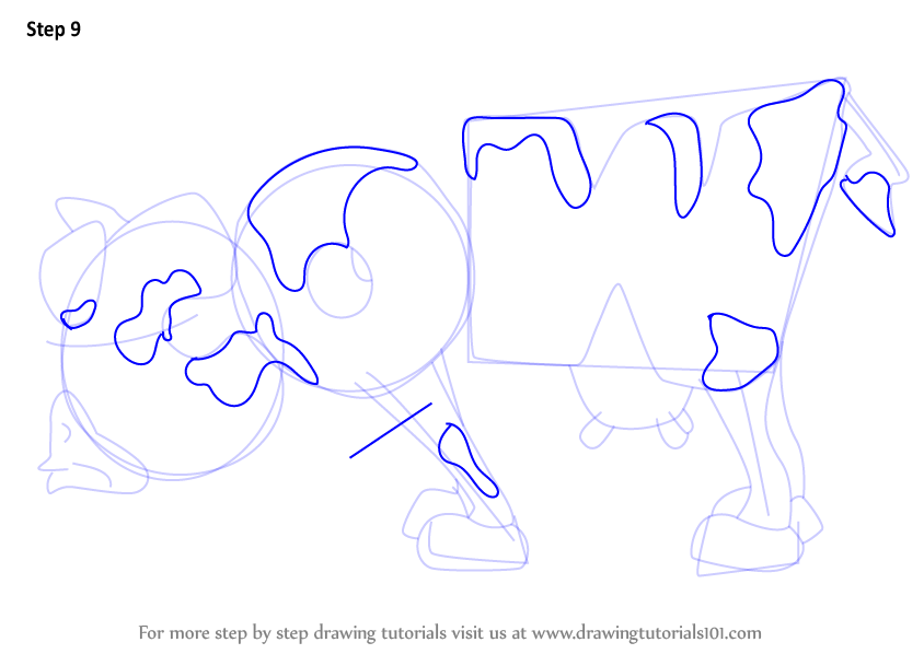 Learn How to Draw Cow from WordWorld (WordWorld) Step by