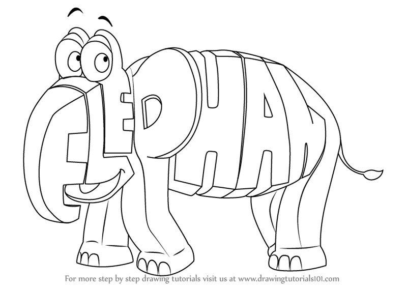 Learn how to draw elephant from wordworld wordworld step for Word world coloring page