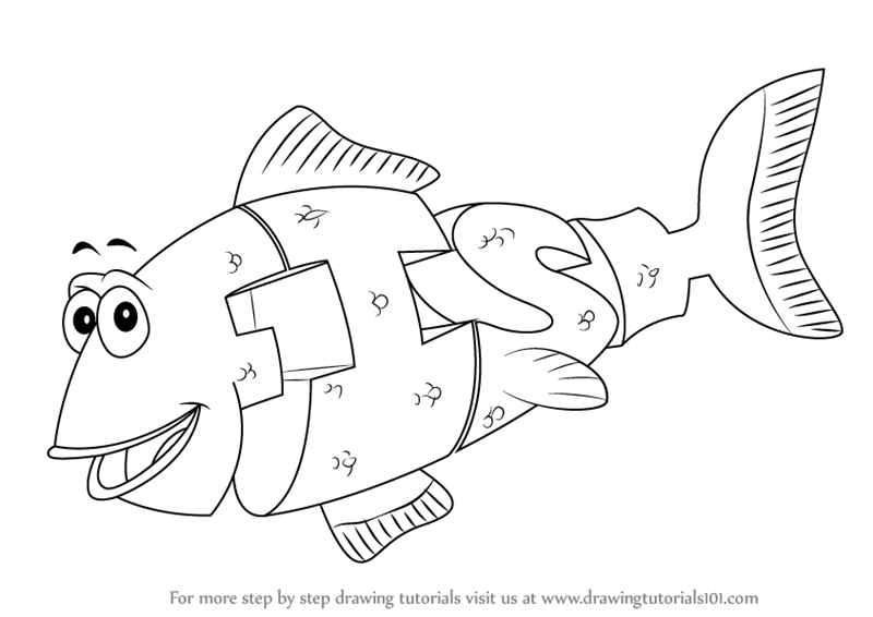 Learn how to draw fish from wordworld wordworld step by for Word world coloring page