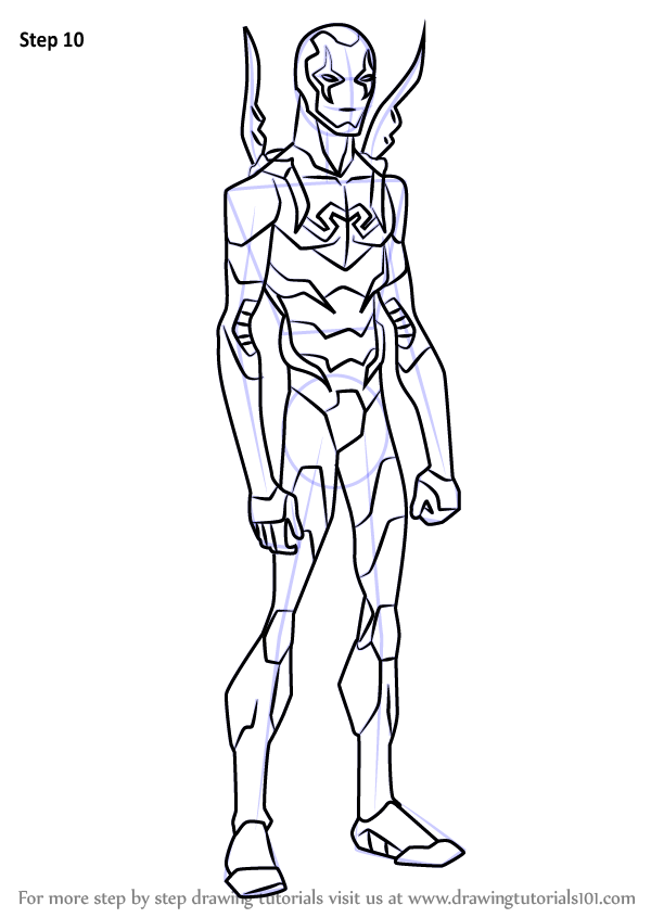 Learn how to draw blue beetle from young justice young for Blue beetle coloring pages