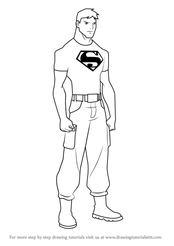 Learn How To Draw Superboy From Young Justice Young Justice Superboy Coloring Pages Free