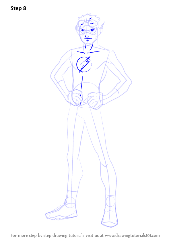 Learn How To Draw Kid Flash From Young Justice Step By Drawing Tutorials