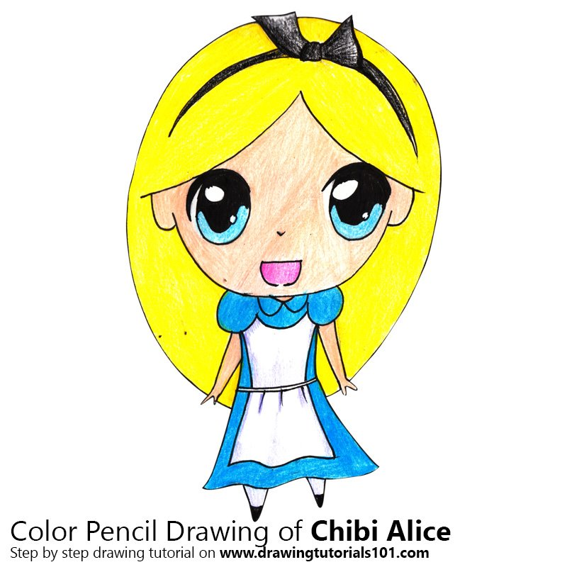 Chibi Alice from Alice in Wonderland Color Pencil Drawing