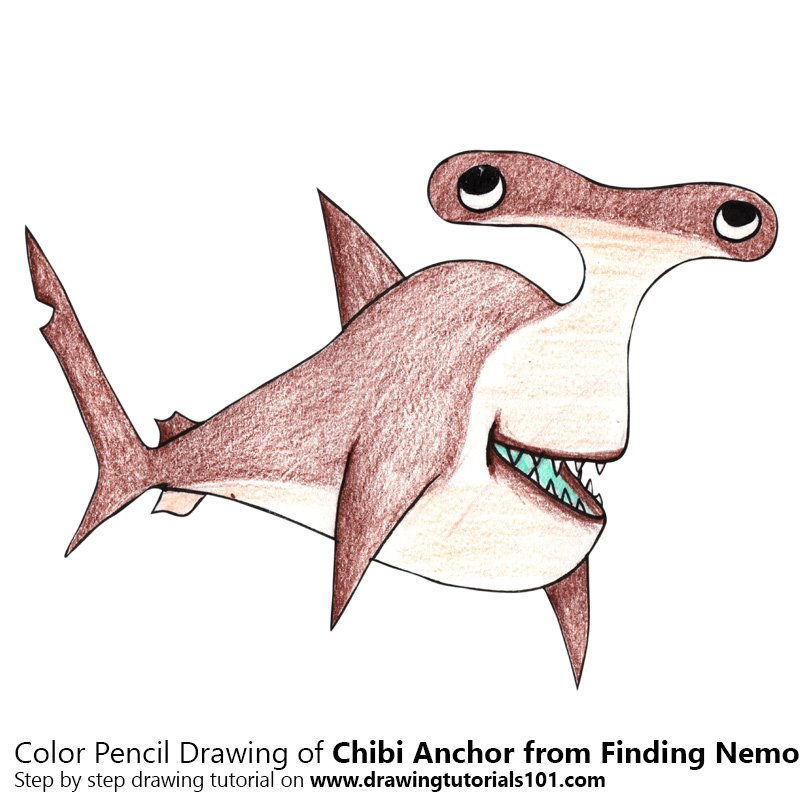 Chibi Anchor from Finding Nemo Color Pencil Drawing