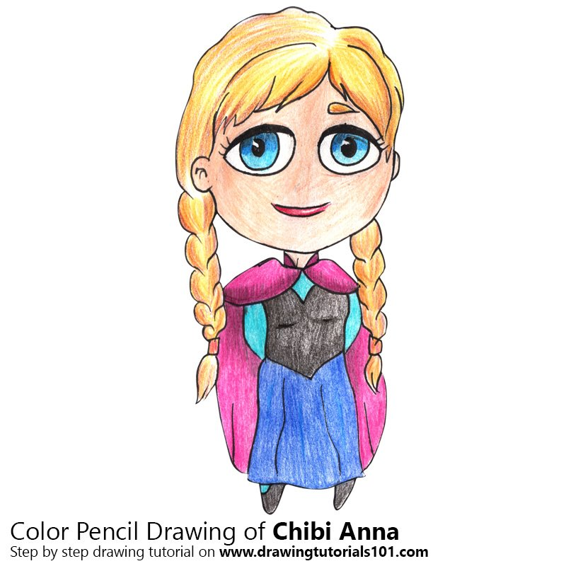 Chibi Anna from Frozen Color Pencil Drawing