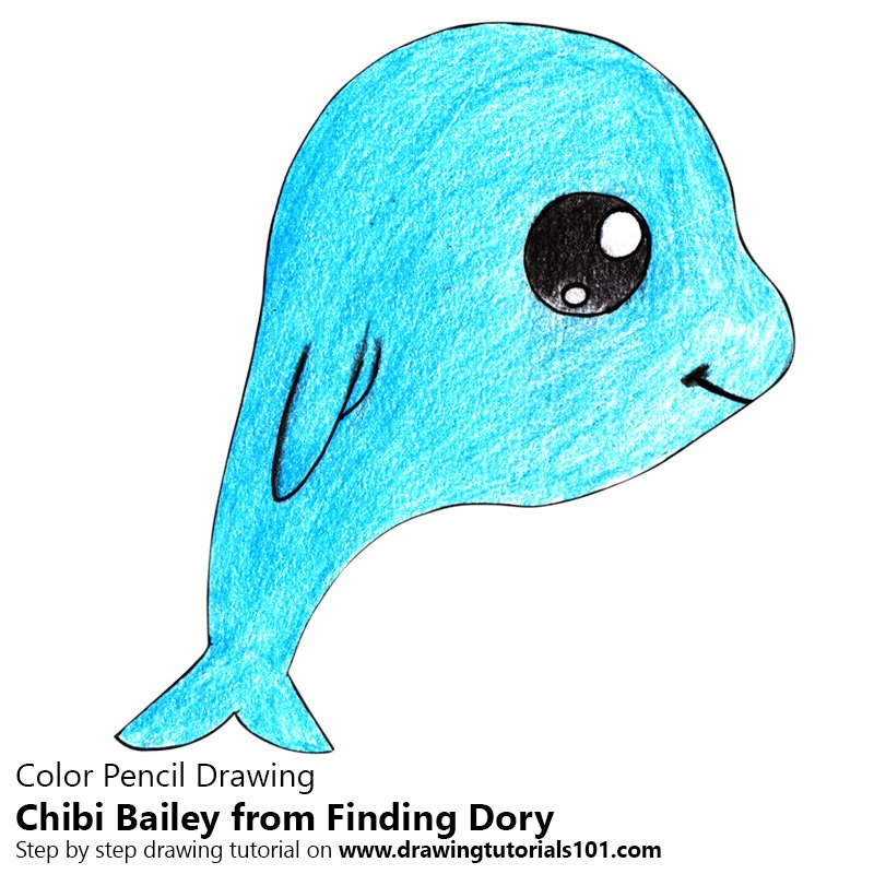 Chibi Bailey from Finding Dory Color Pencil Drawing