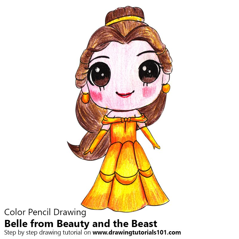 Chibi Belle from Beauty and the Beast Color Pencil Drawing