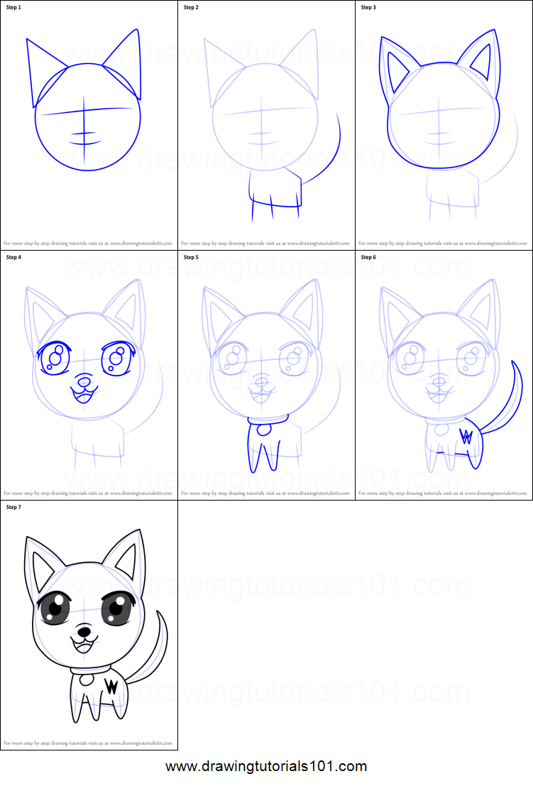 how to draw bolt the dog step by step