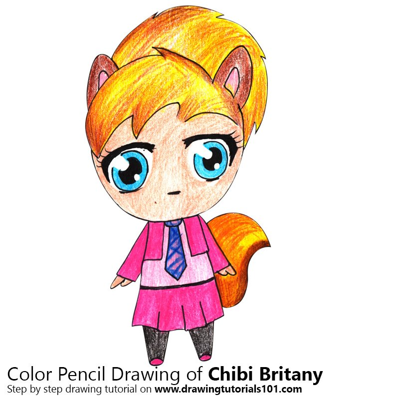 Chibi Brittany from Alvin and the Chipmunks Color Pencil Drawing