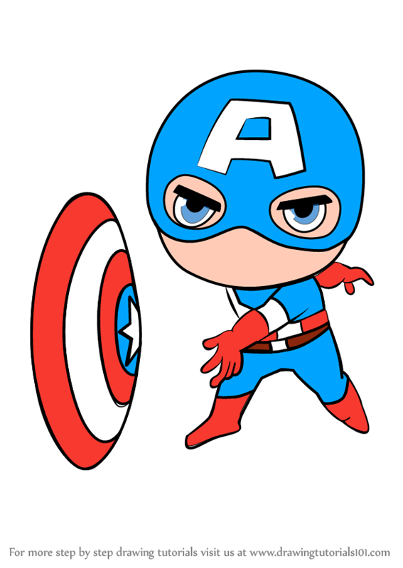 Learn How To Draw Chibi Captain America Chibi Characters Step By