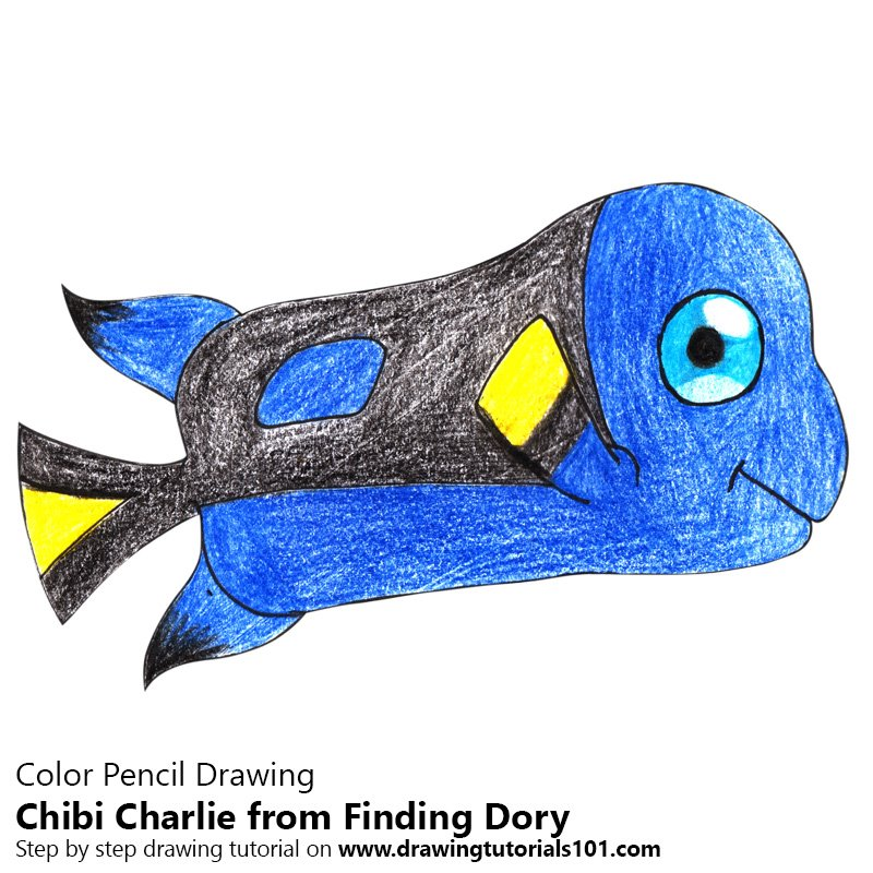Chibi Charlie from Finding Dory Color Pencil Drawing