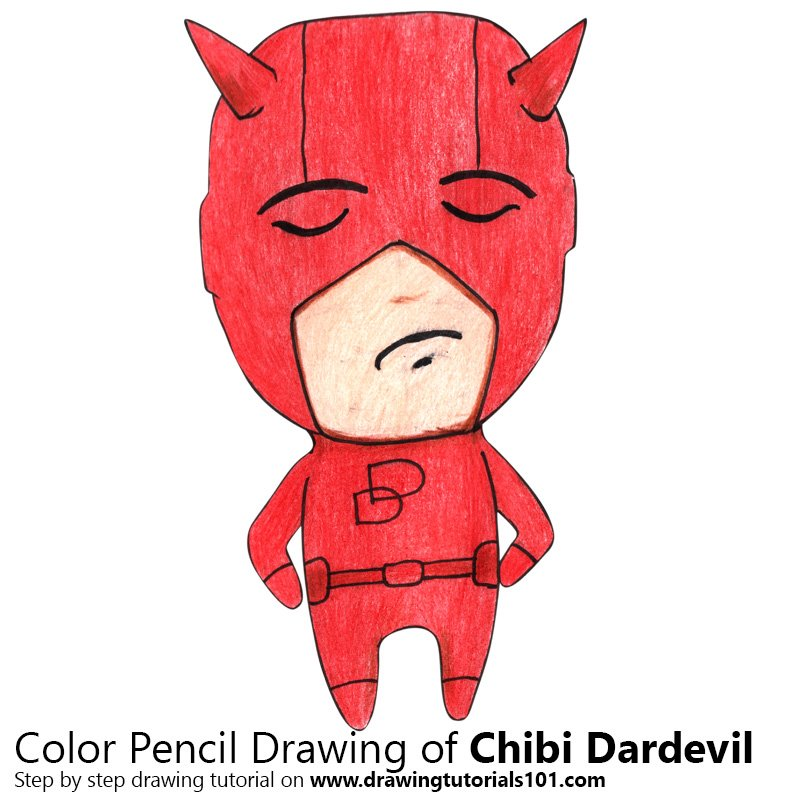 Chibi Daredevil Color Pencil Drawing