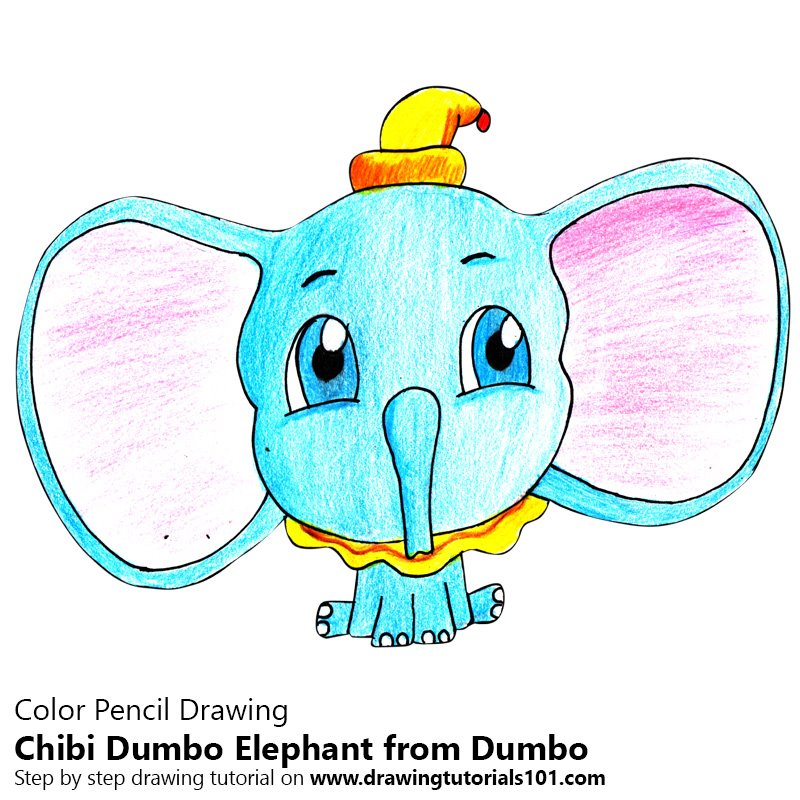 Chibi Dumbo Elephant from Dumbo Color Pencil Drawing