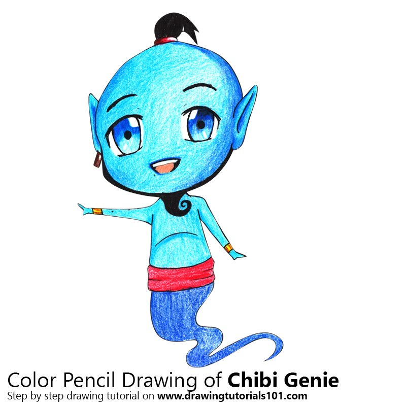 Chibi Genie from Aladdin Color Pencil Drawing