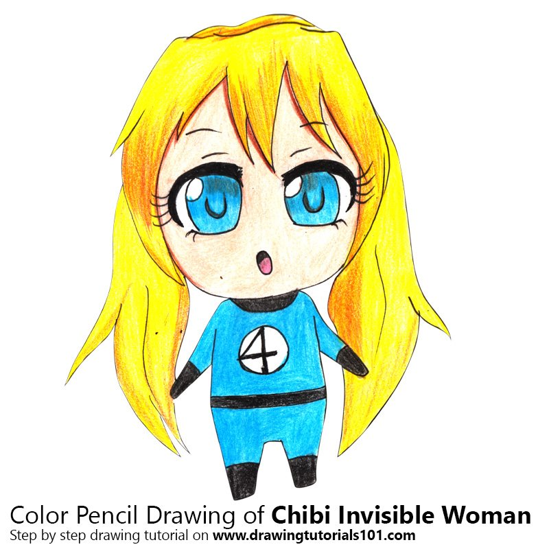 Chibi Invisible Woman Color Pencil Drawing