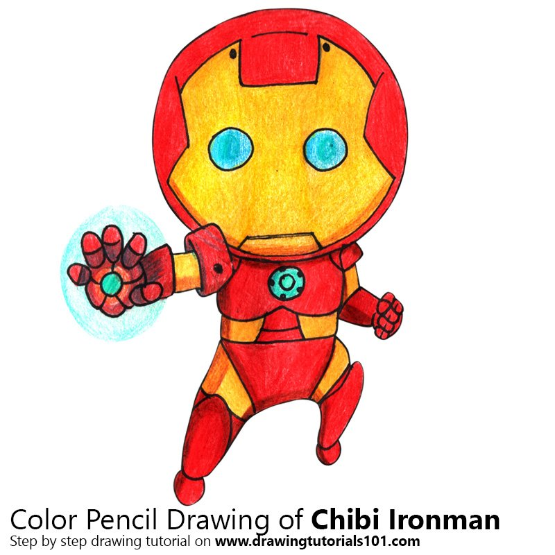 Chibi Ironman Color Pencil Drawing