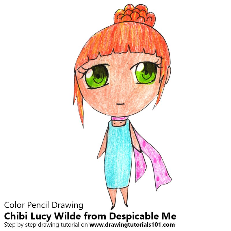 Chibi Lucy Wilde from Despicable Me Color Pencil Drawing