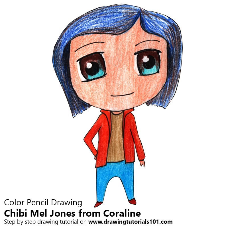 Chibi Mel Jones from Coraline Color Pencil Drawing