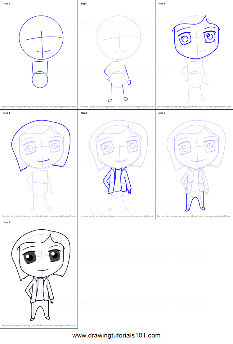How To Draw Chibi Mel Jones From Coraline Printable Step By Step Drawing Sheet Drawingtutorials101 Com