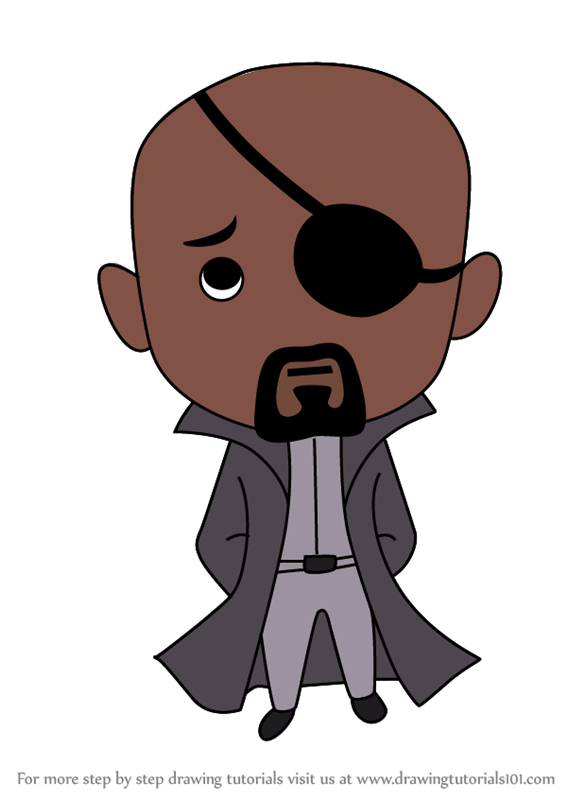 Learn How To Draw Chibi Nick Fury Chibi Characters Step By Step