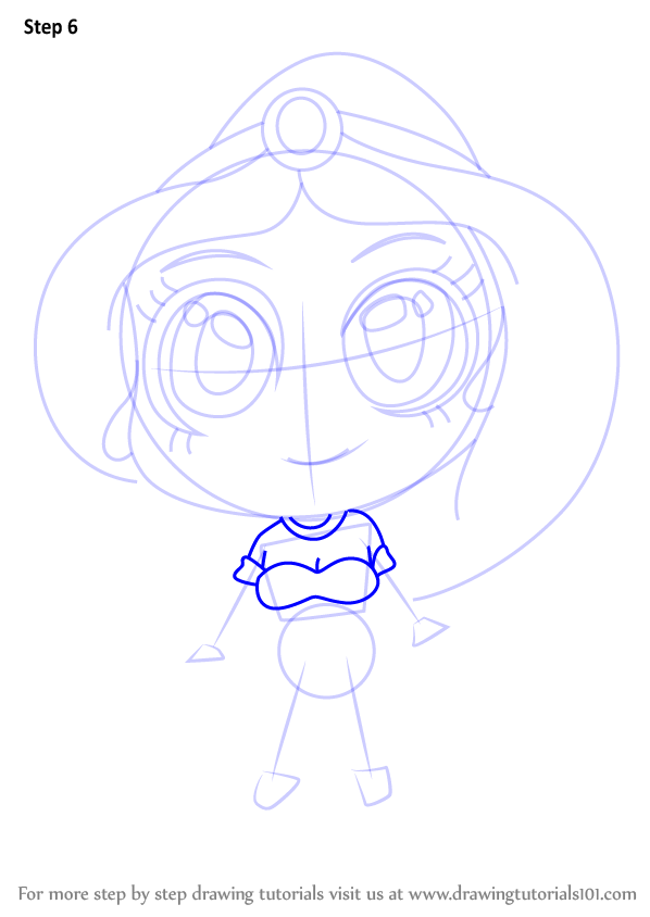 Learn How to Draw Chibi Princess Jasmine (Chibi Characters) Step by