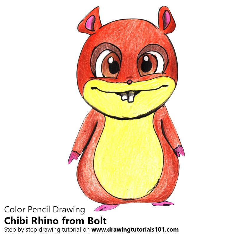 Chibi Rhino from Bolt Color Pencil Drawing