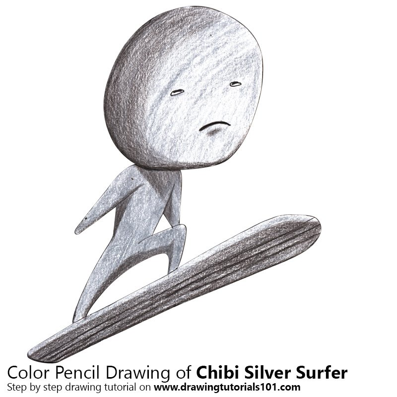Chibi Silver Surfer Color Pencil Drawing