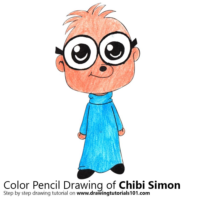 Chibi Simon from Alvin and the Chipmunks Color Pencil Drawing