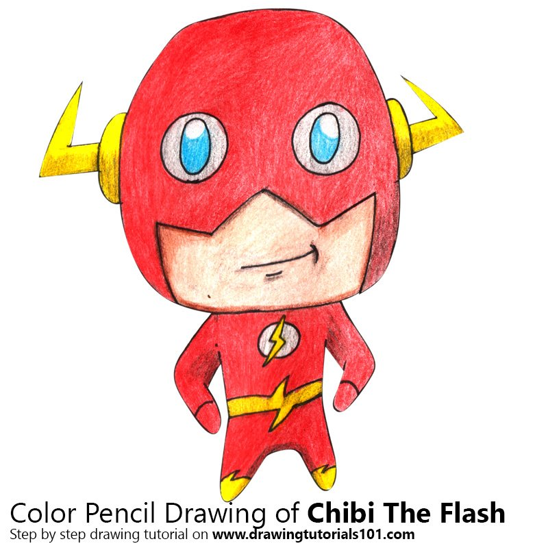 Chibi The Flash Color Pencil Drawing